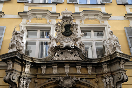 steiermark: House decoration in Graz Austria in the old part of the city, on January 10, 2015. Editorial