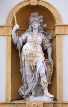 minerva: Minerva, Roman goddess of wisdom and sponsor of arts, trade, and strategy, Arsenal (Zeughaus) historic center  in Graz, Styria, Austria on January 10, 2015.
