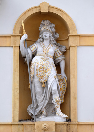 arsenal: Minerva, Roman goddess of wisdom and sponsor of arts, trade, and strategy, Arsenal (Zeughaus) historic center  in Graz, Styria, Austria on January 10, 2015.