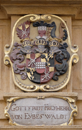 steiermark: Facade coat of arms on the portal of Arsenal (Zeughaus) historic center listed as World Heritage by UNESCO in Graz, Styria, Austria on January 10, 2015. Editorial