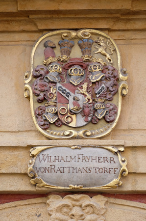 listed: Facade coat of arms on the portal of Arsenal (Zeughaus) historic center listed as World Heritage by UNESCO in Graz, Styria, Austria on January 10, 2015. Editorial