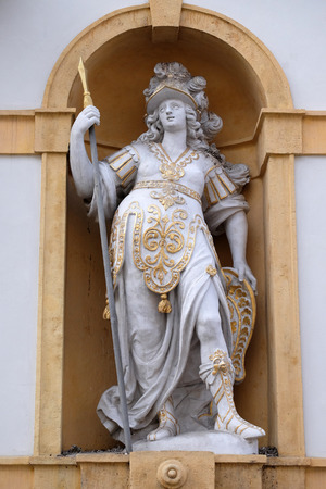 minerva: Minerva, Roman goddess of wisdom and sponsor of arts, trade, and strategy, Arsenal (Zeughaus) historic center listed as World Heritage by UNESCO in Graz, Styria, Austria on January 10, 2015.