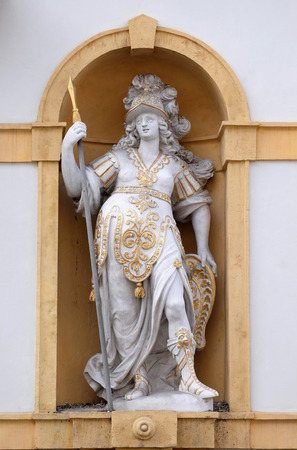 steiermark: Minerva, Roman goddess of wisdom and sponsor of arts, trade, and strategy, Arsenal (Zeughaus) historic center listed as World Heritage by UNESCO in Graz, Styria, Austria on January 10, 2015.