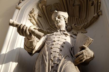 Saint John Sarkander on the portal of Parish Church of the Holy Blood in Graz, Styria, Austria on January 10, 2015.