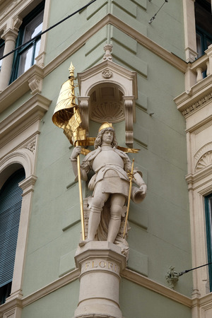 patron of europe: Saint Florian at the corner of Jungferngasse and Herrengasse, Graz, Styria, Austria on January 10, 2015.