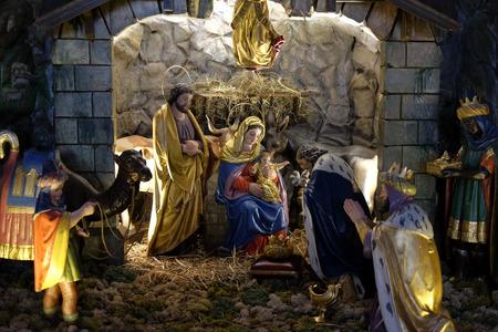 guarder�a: Escena de la natividad, guarder�a, o el pesebre, el nacimiento de Jes�s en la iglesia parroquial de la Santa Sangre en Graz, Estiria, Austria el 10 de enero de 2015.