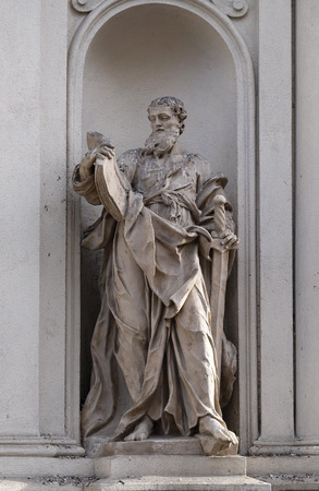 preach: Saint Paul the Apostle on the facade of Parish Church of the Holy Blood in Graz, Styria, Austria on January 10, 2015.
