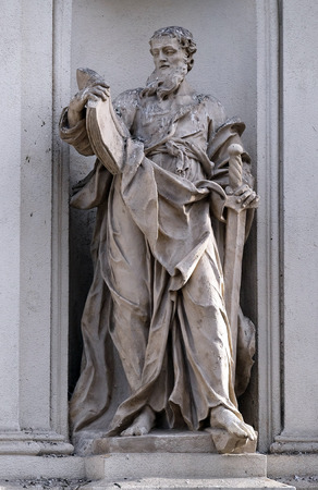 Saint Paul the Apostle on the facade of Parish Church of the Holy Blood in Graz, Styria, Austria on January 10, 2015.
