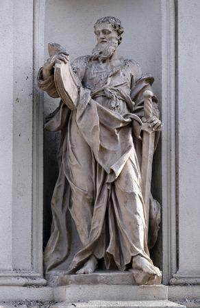 apostle paul: Saint Paul the Apostle on the facade of Parish Church of the Holy Blood in Graz, Styria, Austria on January 10, 2015.
