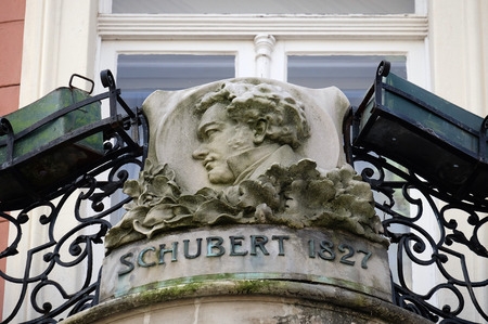 franz: Franz Schubert, bas relief in memory of his visit in Graz, Styria, Austria on January 10, 2015.