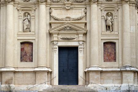 ferdinand: Portal of St. Catherine church and Mausoleum of Ferdinand II, Graz, Austria on January 10, 2015.