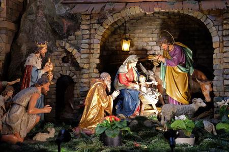 Nativity scene, creche, or crib, birth of Jesus in Franciscan Church in Graz, Styria, Austria on January 10, 2015.