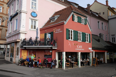 steiermark: Cafe in the historical city center. With population of 300.000, Graz is second-largest city in Austria and capital of federal state of Styria, Graz, Austria on January 10, 2015.