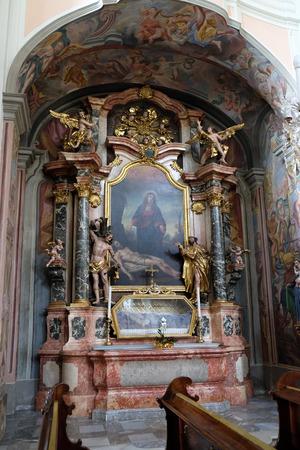 Altar of Saint John the Nepomuk in Barmherzigenkirche church in Graz, Styria, Austria on January 10, 2015.