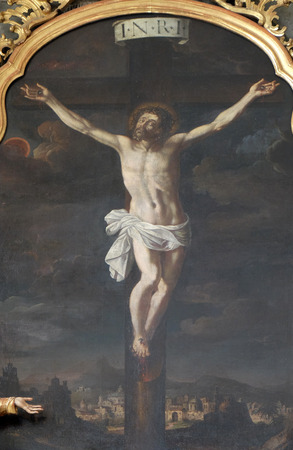 devotional: Altar of Holy Cross, Mariahilf church in Graz, Styria, Austria on January 10, 2015. Editorial