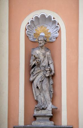 sacred trinity: Saint Joseph on the portal of Dreifaltigkeitskirche ( Holy Trinity ) church in Graz, Styria, Austria on January 10, 2015. Editorial