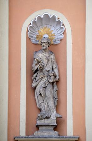 holy trinity: Saint Joseph on the portal of Dreifaltigkeitskirche ( Holy Trinity ) church in Graz, Styria, Austria on January 10, 2015. Stock Photo
