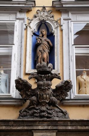 double headed eagle: Imperial eagle emblem in Graz, Styria, Austria on January 10, 2015.