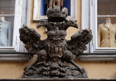 double headed: Imperial eagle emblem in Graz, Styria, Austria on January 10, 2015.