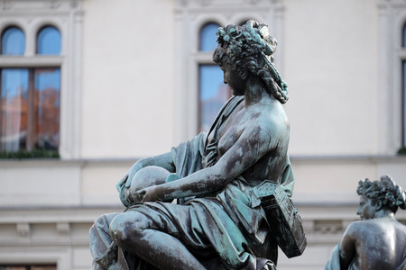 archduke: Archduke Johann Fountain, allegorical representation of the river Enns, Hauptplatz square, Graz, Styria, Austria on January 10, 2015. Editorial
