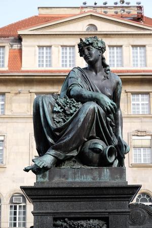 hauptplatz: Archduke Johann Fountain, allegorical representation of the river Drau, Hauptplatz square, Graz, Styria, Austria on January 10, 2015. Editorial