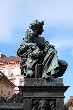 archduke: Archduke Johann Fountain, allegorical representation of the river Mur, Hauptplatz square, Graz, Styria, Austria on January 10, 2015. Editorial
