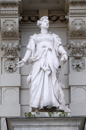 allegorical: Statue of Commerce, allegorical representation, detail of Rathaus Town Hall, Graz, Styria, Austria on January 10, 2015. Stock Photo