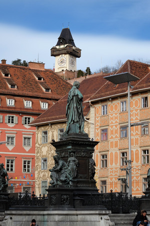 female likeness: Erzherzog Johann fountain at Hauptplatz square, Graz, Styria, Austria on January 10, 2015.