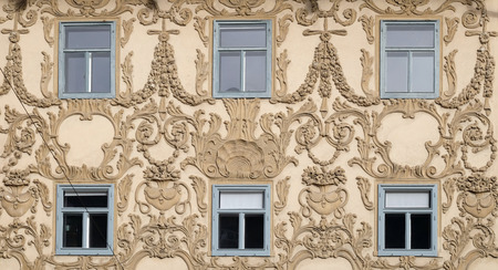 stucco facade: GRAZ, AUSTRIA - JANUARY 10, 2015: Stucco facade of Luegghaus, Luegg House, Graz, Styria, Austria on January 10, 2015.
