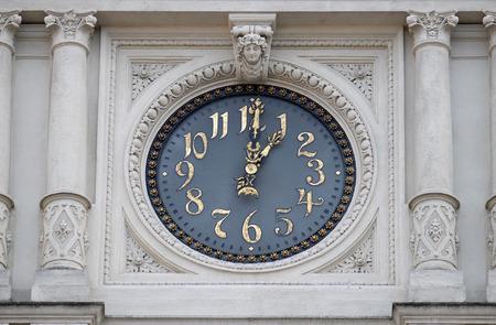 rathaus: Clock at facade, detail Rathaus Town Hall, Graz, Styria, Austria on January 10, 2015.