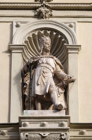 steiermark: Statue of the Austrian monarchs on the portal of City Hall. Graz is the capital city of Styria, Austria on January 10, 2015.