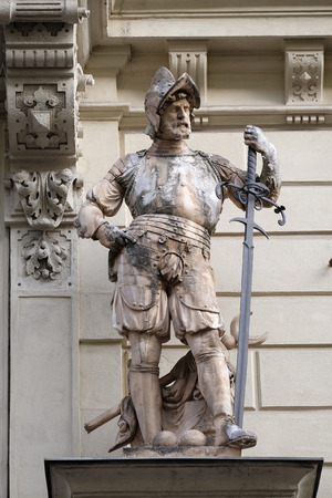 steiermark: Statue of Austrian soldiers on the portal of City Hall. Graz is the capital city of Styria, Austria on January 10, 2015.
