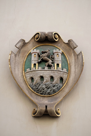 listed: Facade coat of arms on the Landhaus historic center listed as World Heritage by UNESCO in Graz, Styria, Austria on January 10, 2015. Editorial