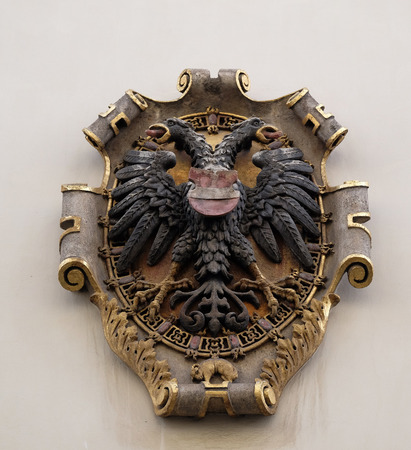 steiermark: Facade coat of arms on the Landhaus historic center listed as World Heritage by UNESCO in Graz, Styria, Austria on January 10, 2015. Editorial