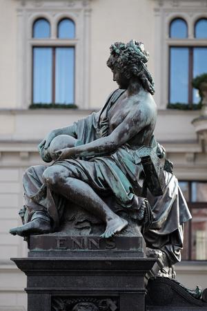 allegorical: Archduke Johann Fountain, allegorical representation of the river Enns, Hauptplatz square, Graz, Styria, Austria on January 10, 2015. Editorial