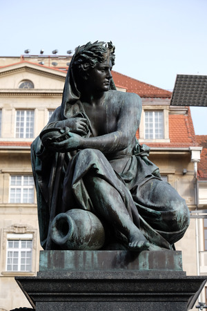 hauptplatz: Archduke Johann Fountain, allegorical representation of the river Sann, Hauptplatz square, Graz, Styria, Austria on January 10, 2015.