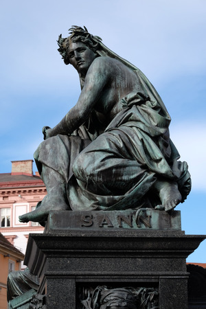 archduke: Archduke Johann Fountain, allegorical representation of the river Sann, Hauptplatz square, Graz, Styria, Austria on January 10, 2015.