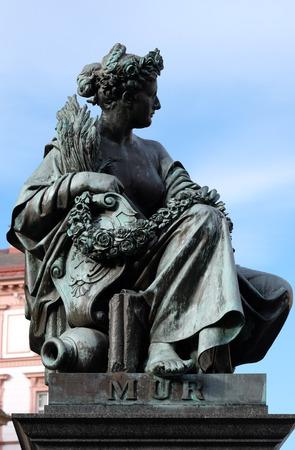 hauptplatz: Archduke Johann Fountain, allegorical representation of the river Mur, Hauptplatz square, Graz, Styria, Austria on January 10, 2015. Editorial