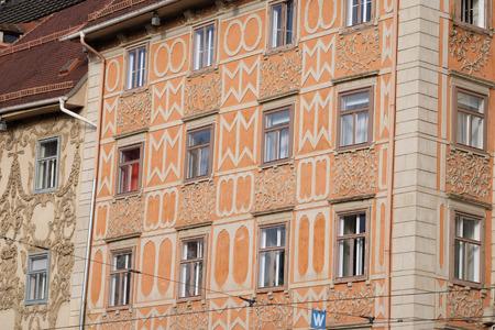 hauptplatz: Architecture along Hauptplatz main square city of  Graz, Styria, Austria on January 10, 2015.