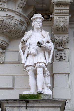 hauptplatz: Statue of Art, allegorical representation, detail of Rathaus Town Hall, Graz, Styria, Austria on January 10, 2015. Editorial