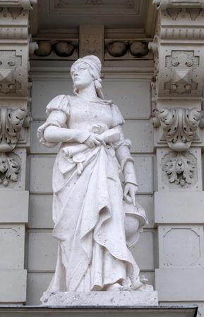 steiermark: Statue of Science, allegorical representation, detail of Rathaus Town Hall, Graz, Styria, Austria on January 10, 2015.