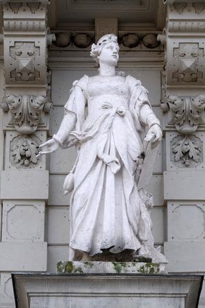 steiermark: Statue of Commerce, allegorical representation, detail of Rathaus Town Hall, Graz, Styria, Austria on January 10, 2015. Editorial