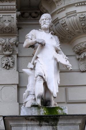 hauptplatz: Statue of Industry, allegorical representation, detail of Rathaus Town Hall, Graz, Styria, Austria on January 10, 2015. Editorial