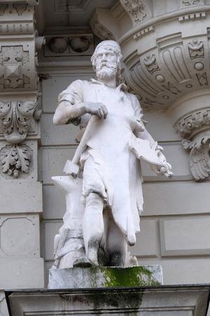 steiermark: Statue of Industry, allegorical representation, detail of Rathaus Town Hall, Graz, Styria, Austria on January 10, 2015.; Editorial