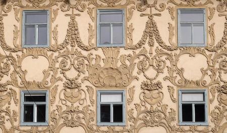 stucco facade: Stucco facade of Luegghaus, Luegg House, Graz, Styria, Austria on January 10, 2015. Editorial