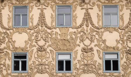 stucco facade: Stucco facciata di Luegghaus, Luegg Casa, Graz, in Stiria, in Austria il 10 gennaio 2015.