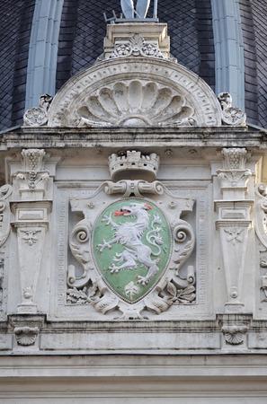 rathaus: Graz coat of arms, facade detail Rathaus Town Hall, Graz, Styria, Austria on January 10, 2015. Editorial