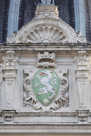 steiermark: Graz coat of arms, facade detail Rathaus Town Hall, Graz, Styria, Austria on January 10, 2015. Editorial
