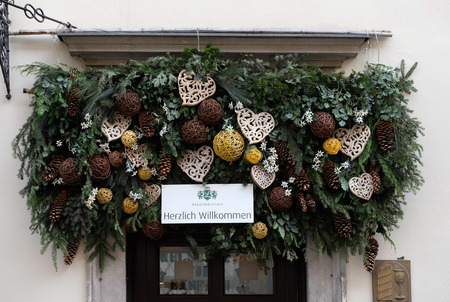 steiermark: Christmas arrangement over entrance in Welscher Stubn restaurant, Schmiedgasse, Graz, Styria, Austria on January 10, 2015.
