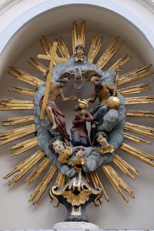 coronation: Coronation of the Virgin Mary painting on the house facade in Graz, Styria, Austria on January 10, 2015.